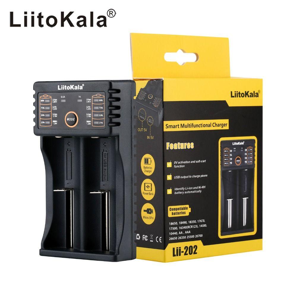 LiitoKala Lii-202 USB Chargeur de Batterie Intelligent avec Fonction de Banque de Puissance pour Ni-MH Lithium pour 18650 26650 18350 14500 lii202