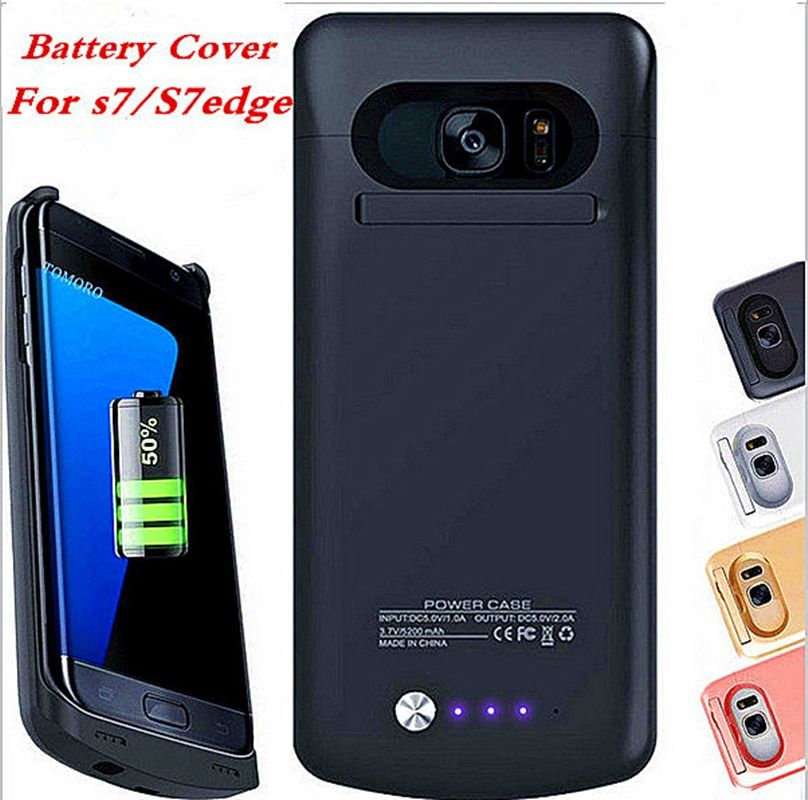 POWER Case Charge Black Back Battery Cover For Samsung Galaxy S7 Edge Case S7 Charger S7edge White Rose Gold Wireless On