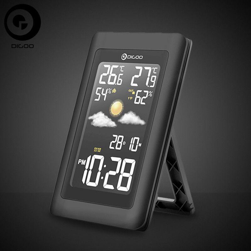 Digoo Hygrometer Thermometer <font><b>Weather</b></font> Station DG-TH11300 Wireless HD Negative Screen USB Outdoor VA Glass Forecast Sensor Clock