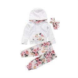 Nouveau Infantile Bébé Filles Vêtements Set Manches Longues Sweat À Capuche Tops + Floral Pantalon Tenues Ensemble Survêtement 0-24 M