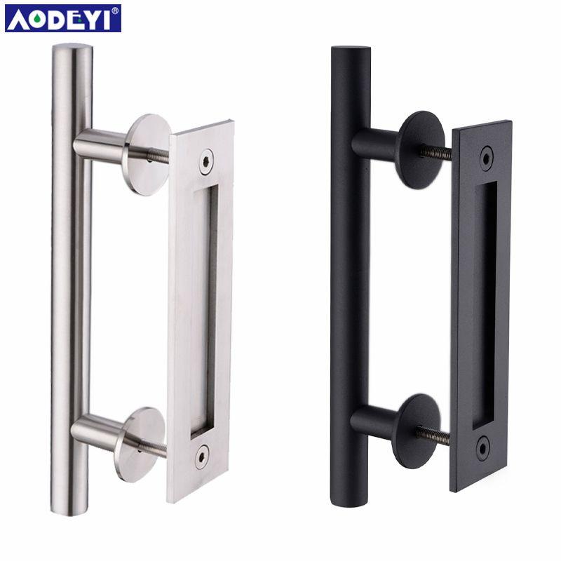 AODEYI 304 poignée de porte coulissante en acier inoxydable poignée de porte en bois poignées de porte noires pour poignée de portes intérieures