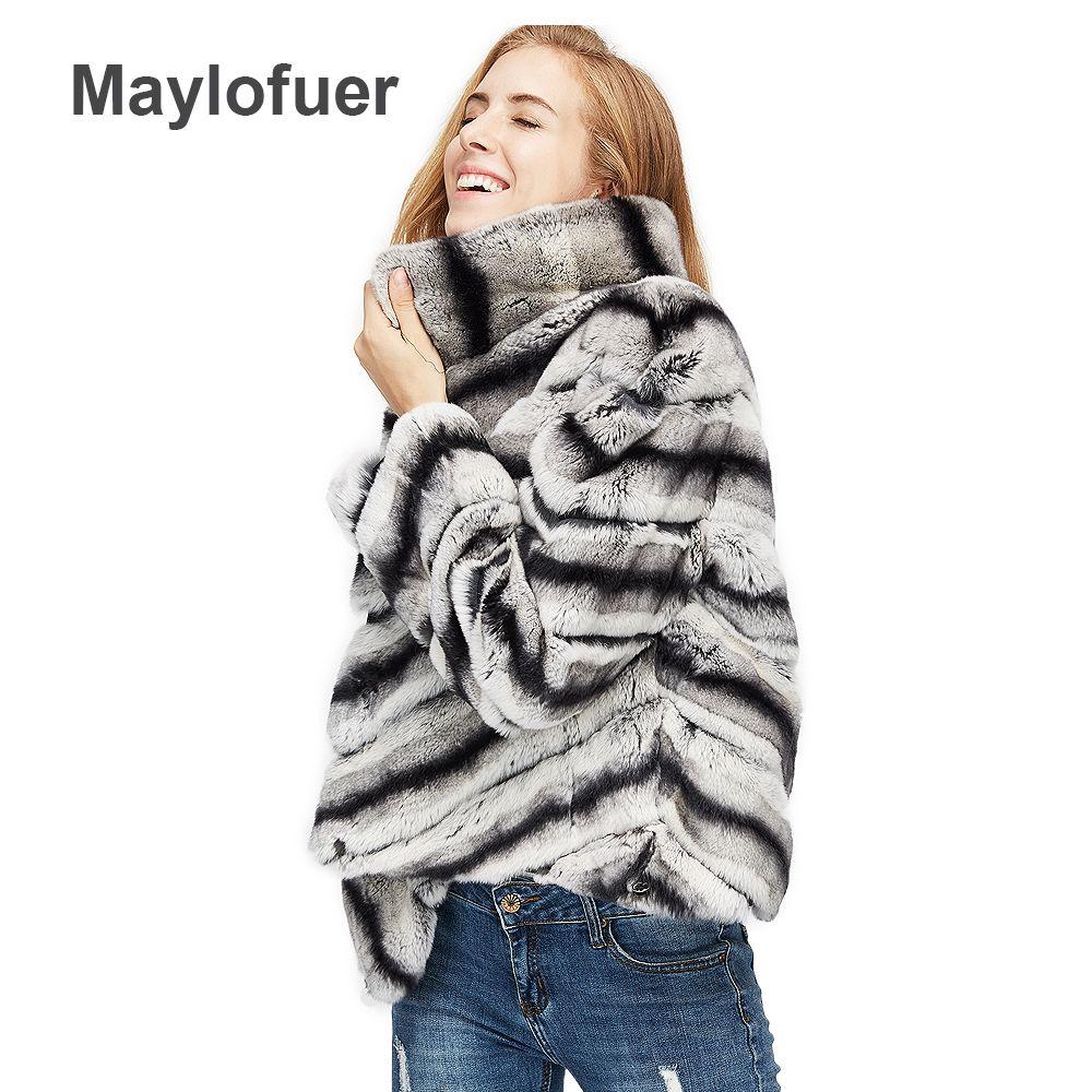 2018 hot sale women real natural rex rabbit fur coat high quality 100% genuine rex rabbit fur chinchilla color winter jacket