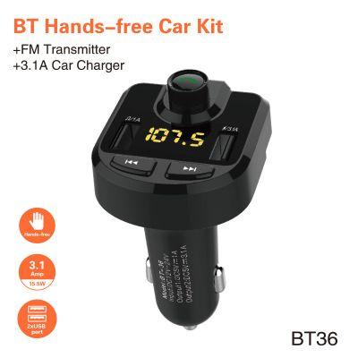 Bluetooth Hands-free Car Kit FM Radio Transmitter Modulator Music Player 3.1A Fast Intelligent Car Charger Dual USB LED Display