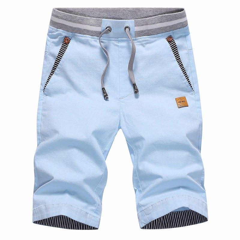 Summer Men's Casual Shorts Men Cotton Solid Shorts Beach Shorts cotton