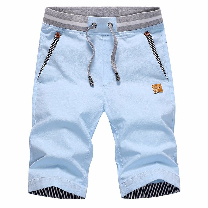 Summer Men's Casual Shorts Men Cotton Solid Shorts Beach Shorts cotton