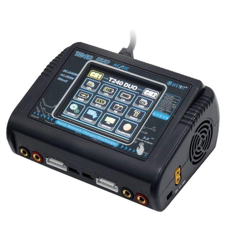 HTRC T240 DUO AC 150W DC 240W 10A Touch Screen Dual Channel Battery Balance Charger Discharger For RC Models Toys