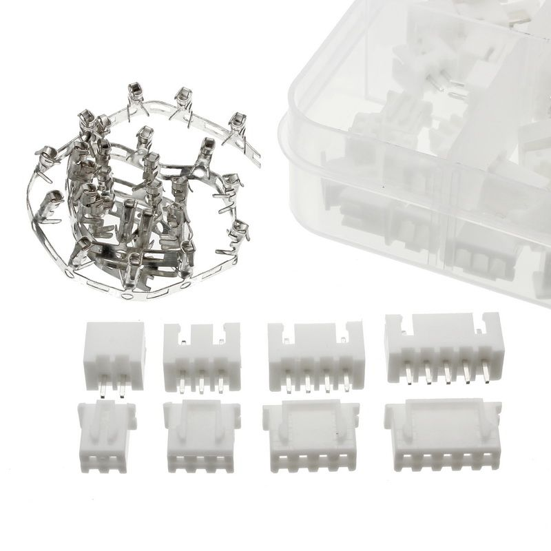 40Pcs 2p 3p 4p 5p 2.54mm Pitch Terminal / Housing / Pin Header Connector Wire Connectors Adaptor XH Kit With Box