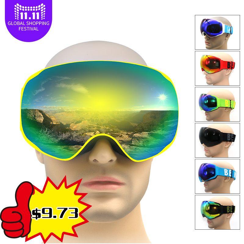 Professional snowboards ski <font><b>goggles</b></font> snow glasses snowboard <font><b>goggles</b></font> anti fog UV400 big view winter glasses for adult men women