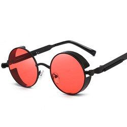 Металлические мужские солнцезащитные очки в стиле стимпанк Для женщин модные круглые солнцезащитные очки, фирменный дизайн, Винтаж солнце...