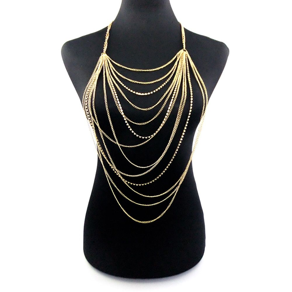 Free Shipping Fashion Personality Simple Multi Layer Chain Body Necklace Female Multilayer Tassel Nipple Belly Jewelry Wholesale