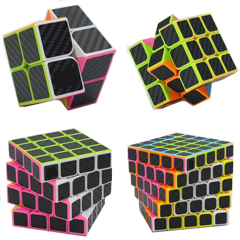4pcs/set 2x2 3x3 4x4 5x5 Carbon Fiber Puzzle Cube Set Boys Christmas Gifts Educational Toys Magico Cubo for Kids Magic Cube