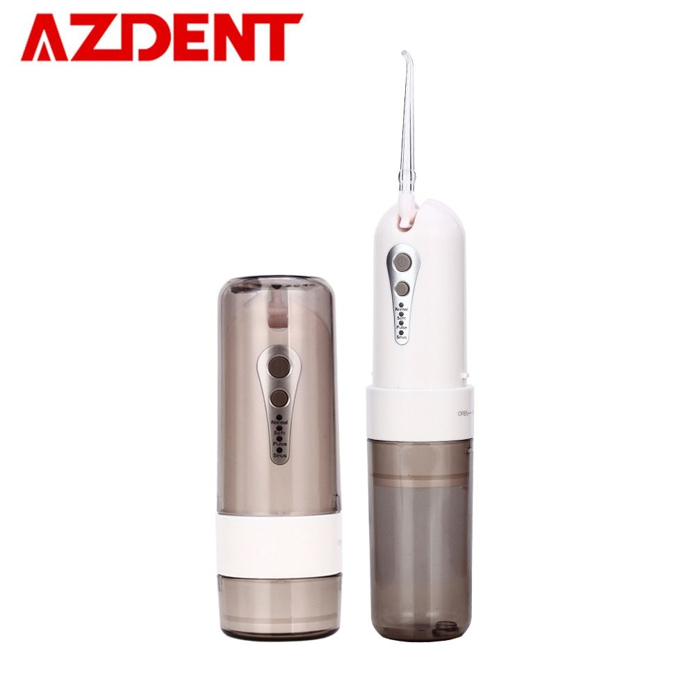 AZDENT Fashion 4 Modes Portable Fold Electric Oral Irrigator USB Charging Water Dental Flosser Rechargeable 200ml + 5 Jet Tips