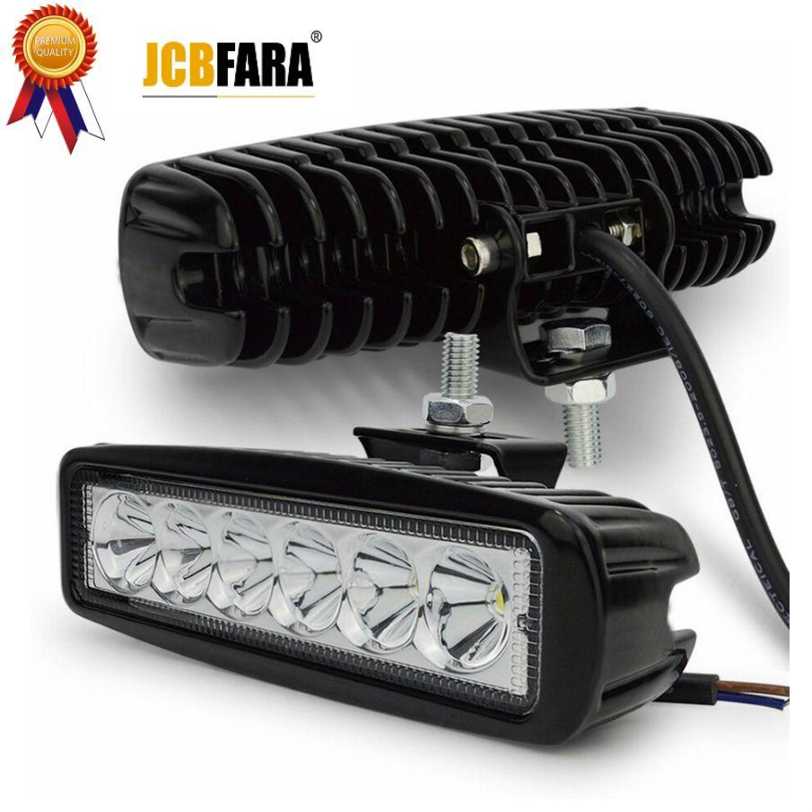 1 pièce 18 w LED lampe de travail projecteur projecteur LED jour temps course Spot Offroad tracteur 4x4 moto barre lumineuse externe