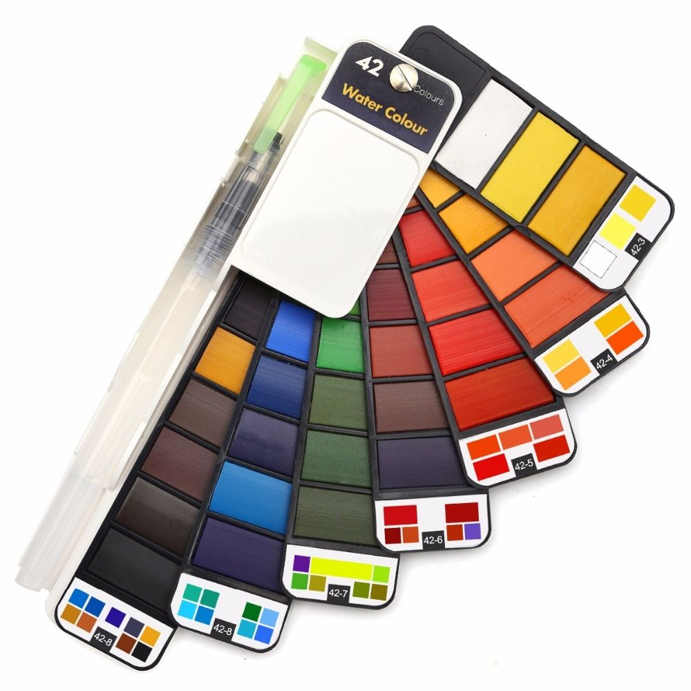 Dainayw18/25/33/42Colors Solid Water Color Paint Set With Water Brush Pen Portable Watercolor Pigment For Drawing Art Supplies