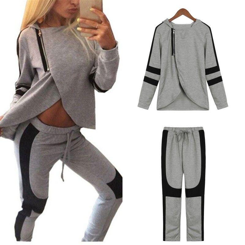 2017 Fashion Autumn Women Tracksuits Patchwork Hooded Oblique Zipper Sweatshirts Pants Casual 2 Pcs Set Hoodies Clothes Plus Sz