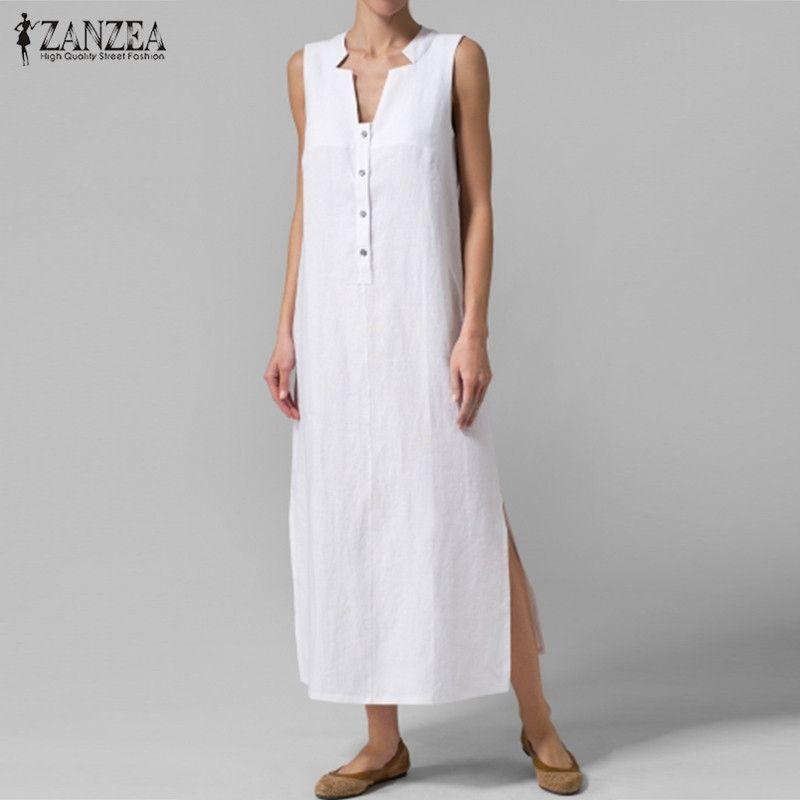 Zanzea mujeres vestido 2018 verano sexy V Masajeadores de cuello sin mangas partido largo Maxi Vestidos vestidos sueltos ocasionales más tamaño