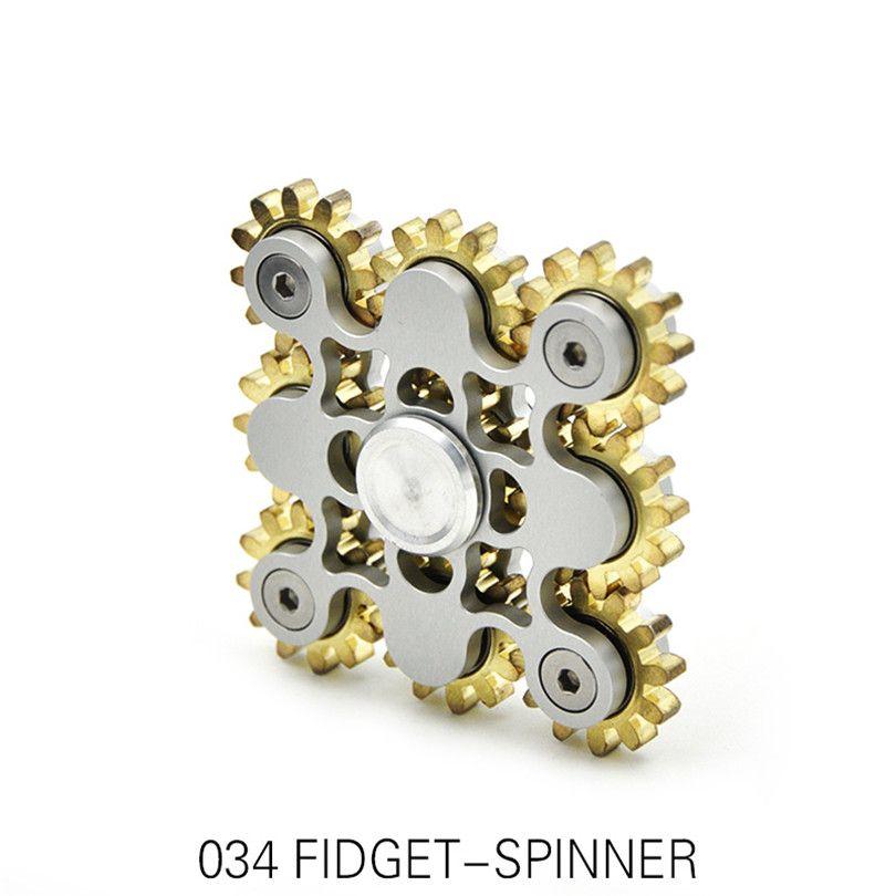 Девять Шестерни ручной Spinner Высокое качество квадратные металлические Творческий EDC Спиннеры для СДВГ декомпрессии детей подарок на день р...