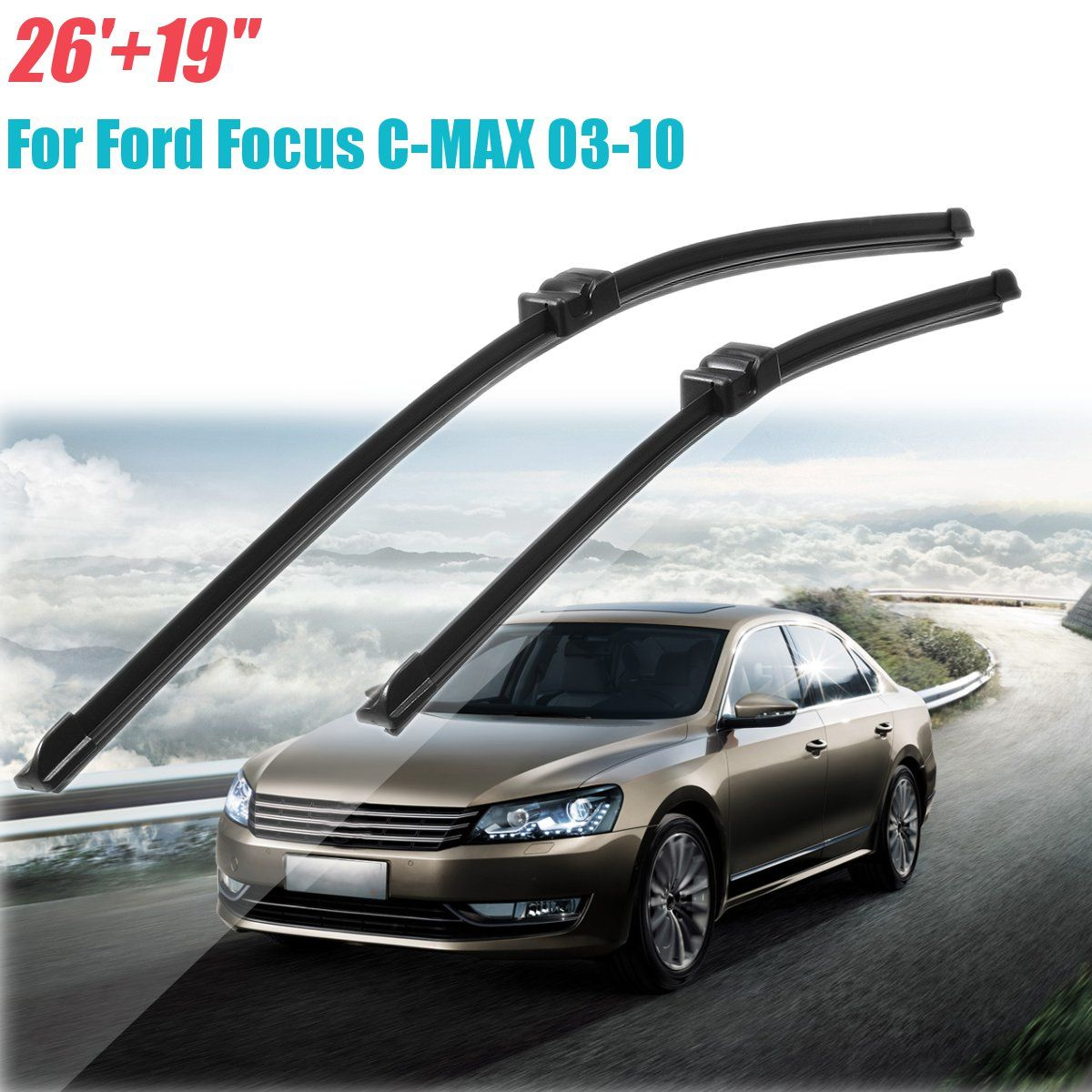 For Ford/Focus/C-MAX 2003-2010 Right Front Window Windscreen Wiper Blades 2Pcs/Set 26 inch+19 inch High Quality