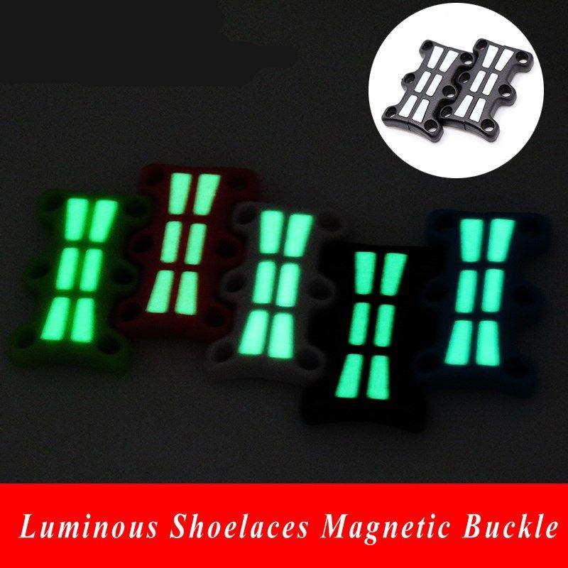 1 paire Lacets Lumineux Magnétique Boucles Fermeture chaussures de baskets Aimant Boucles Glowing Lacet Boucle Sans Cravate pour lacets de chaussures