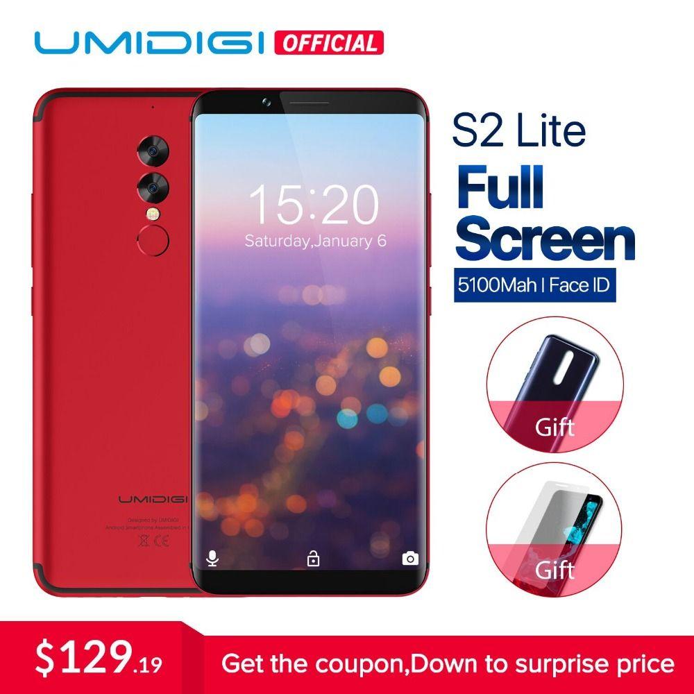 UMIDIGI S2 Lite Full Screen 18:9 Smartphone Android 7.0 Face ID 5100mAh cellphone 4GB RAM 16MP+5MP Dual Cameras 4G Mobile Phone