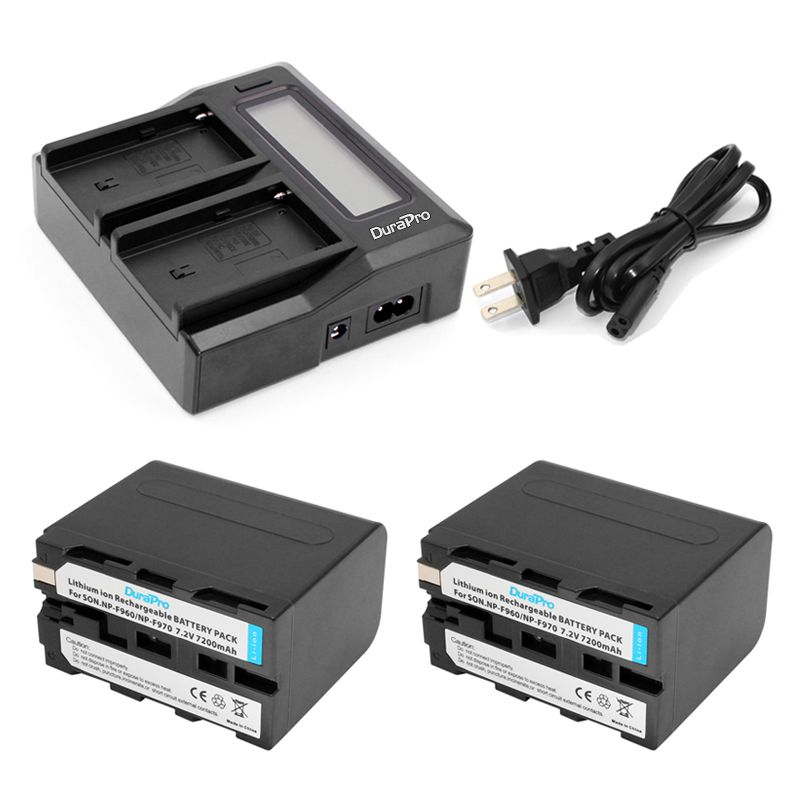2pc NP-F970 NP-F960 NP F970 F960 7.2V 7200mAh Batteries + LCD Quick Charger for SONY HVR-HD1000 HVR-HD1000E HVR-V1J Battery