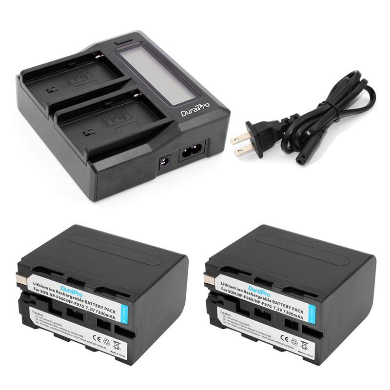 2pc NP-F970 NP-F960 NP F970 F960 7.2V 7200mAh Batteries + LCD Quick Charger for SONY HVR-HD1000 HVR-HD1000E HVR-V1J Battery