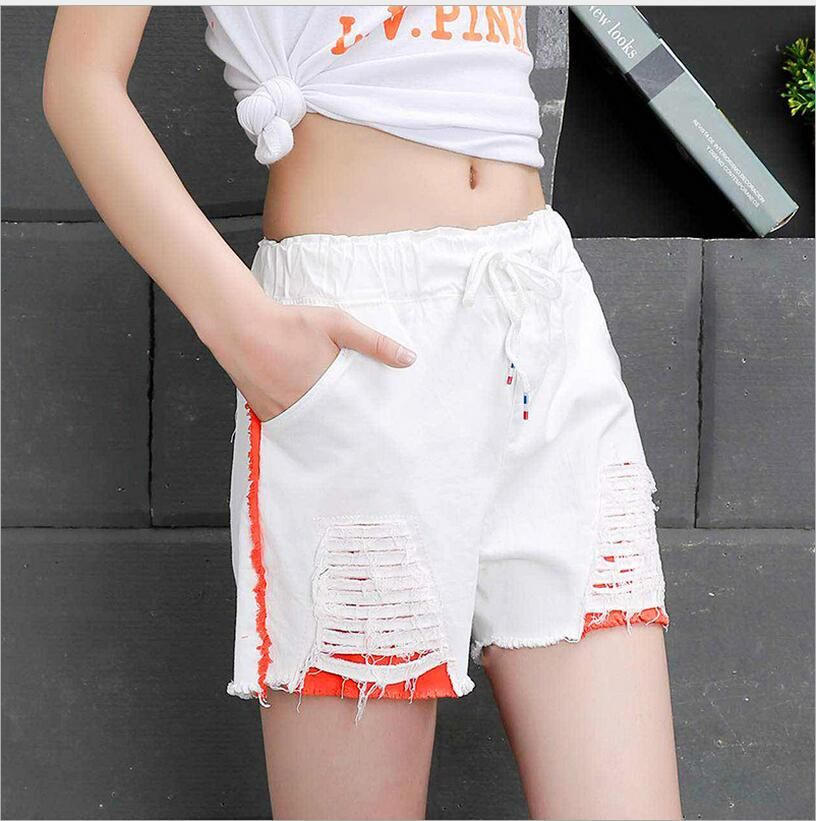 College wind 2018 summer edge denim shorts female wild casual straight trunk tide