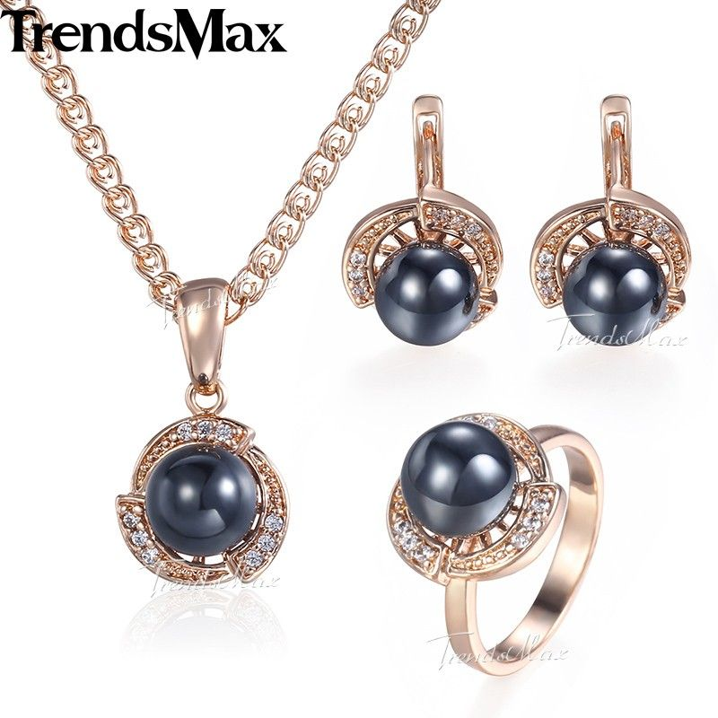 Trendsmax Black Pearl Jewelry Set For Women Earrings Ring 585 Rose Gold Pendant Necklace Womens Fashion Gifts Jewelry KGE120
