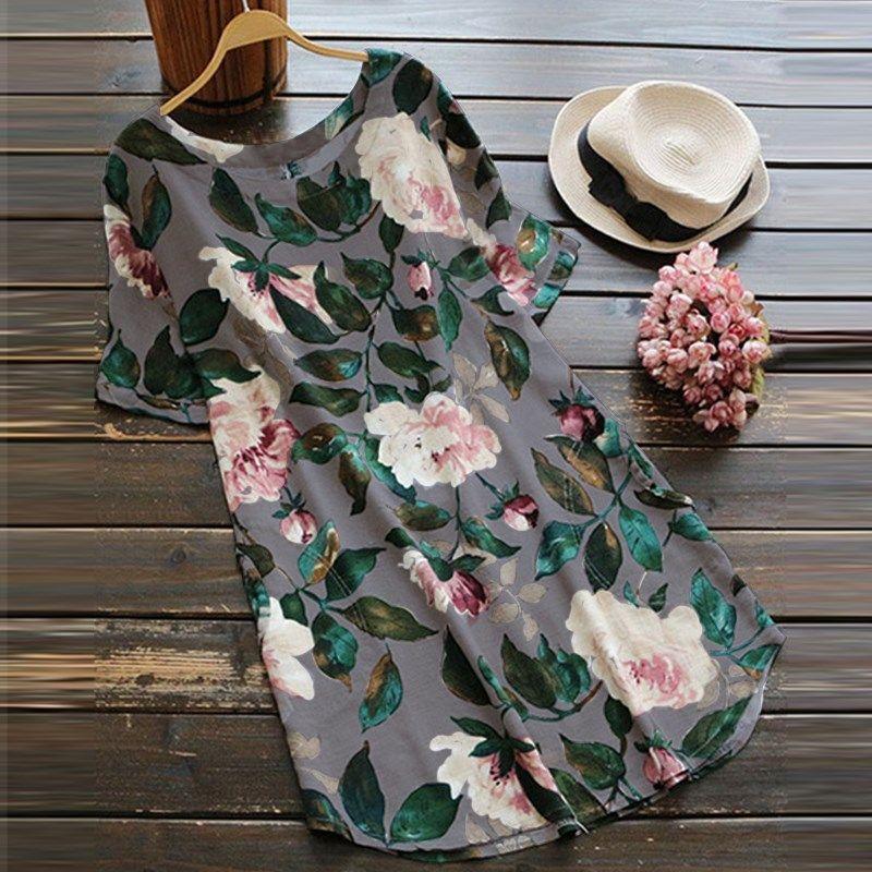 S 5XL ZANZEA Women Elegant O Neck Short Sleeve Cotton Linen <font><b>Work</b></font> Office Vestido 2018 Summer Fashion Floral Printed Loose Dress