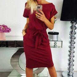 Été Nouveau Mode de Femmes 2018 Genou Longueur Sexy Moulante Gaine Robe Casual O cou À Manches Courtes Tunique Robes Élégant robes