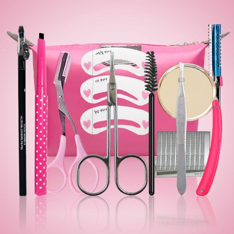 11pcs/set Professional Practical Eye-brow Trimmer Shaping Tool Set Eyebrow Pencil Header Card Eyebrow Knife & Scissors with Bag