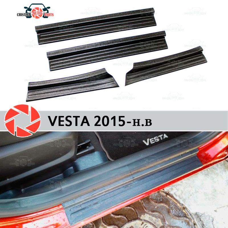 Für Lada Vesta 2015-platte auf einstiegsleisten kunststoff ABS schritt platte inneren trim zubehör schutz scuff auto styling dekoration