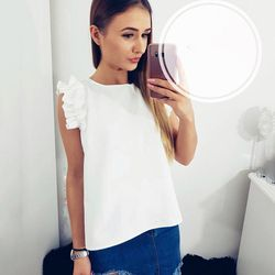 LDZHPS 2018 Fashion casual women's new O-Neck solid color shirts bow stitching sleeveless Butterfly Sleeve Tops Loose Blouse