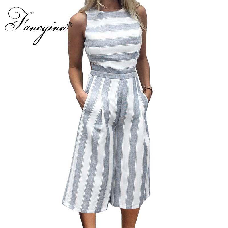 Fancyinn Для женщин в полоску без рукавов с молнией на спине длинный комбинезон Повседневное Стиль
