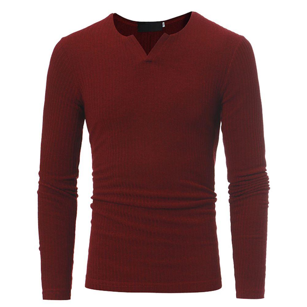 Мужские Повседневное модные теплые V Ошейники эластичный Топ с длинным рукавом универсальные свитер