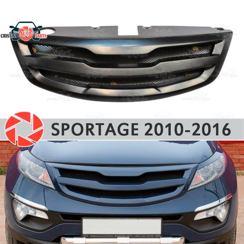 Kühlergrill für Kia Sportage 2010-2016 kunststoff ABS zubehör schutz auto styling vorderseite dekoration tuning mit mesh