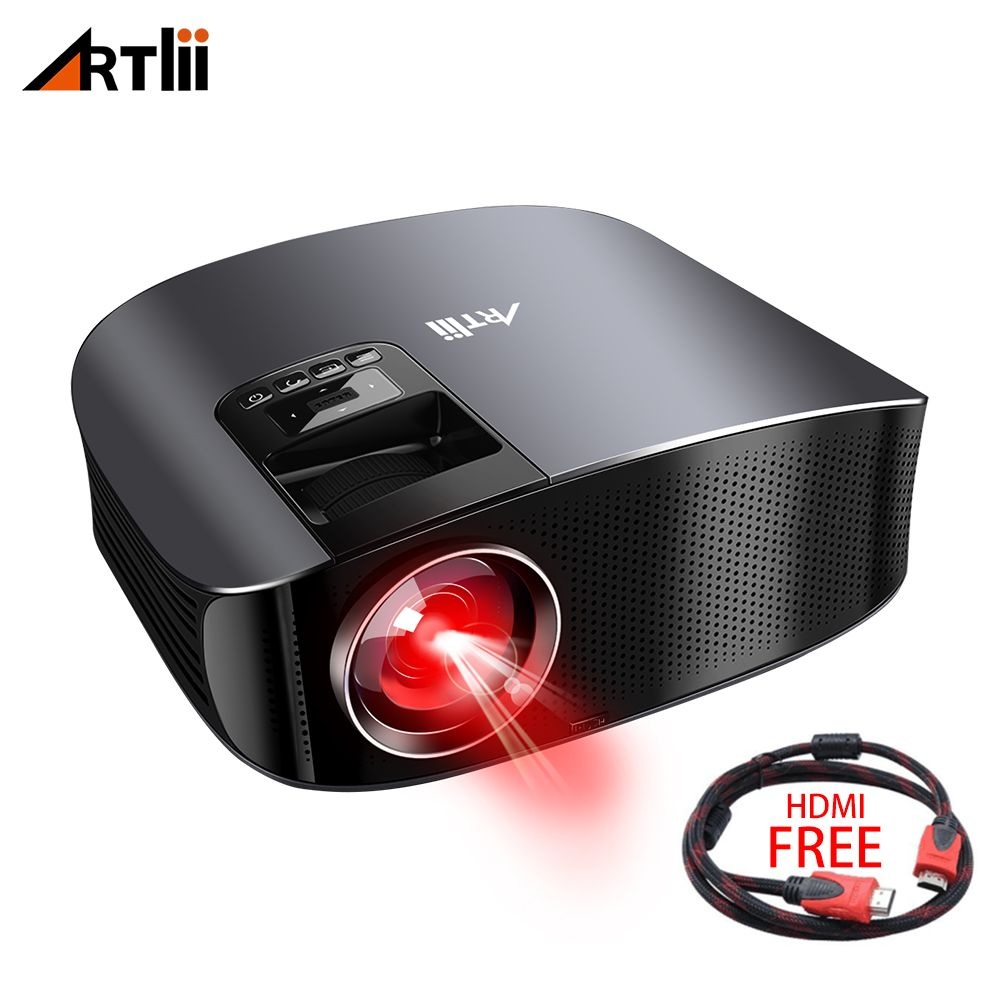 LED Projector for Home Theater Movie LCD Multimedia Projector Connect Android, IOS, Support 1080P Artlii Games Video Projector