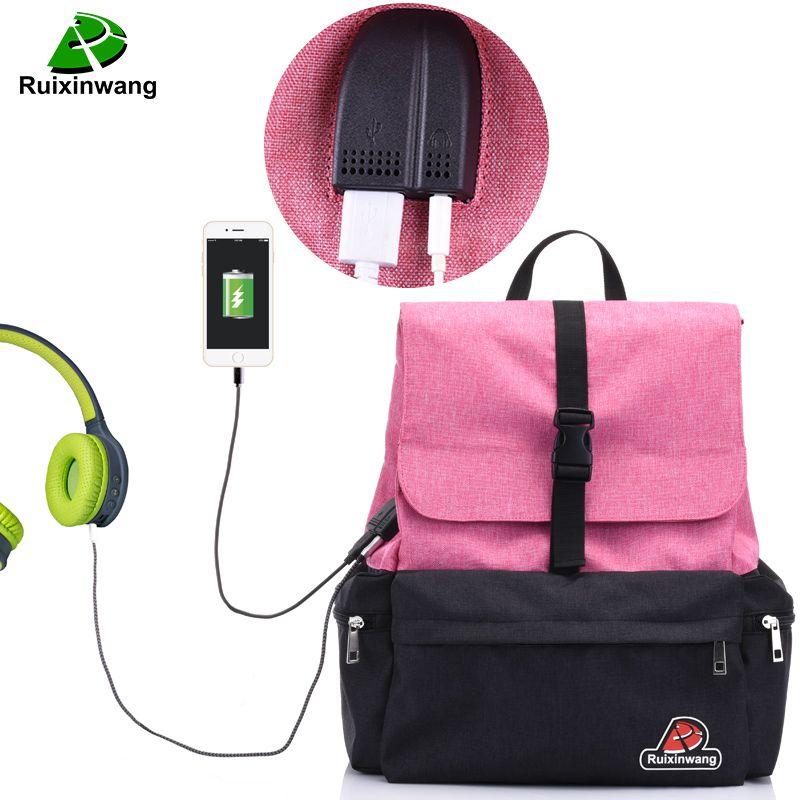 RUIXINWANG 2018 Casual Women Backpack School Mochila Bag For Teenages USB Charging Backpack For Men Listen To Music Travel Bags