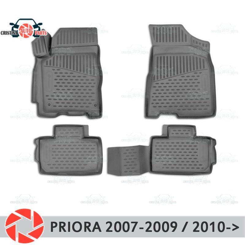 Für Lada Priora 2007-2017 fußmatten teppiche non slip polyurethan schmutz schutz innen auto styling zubehör