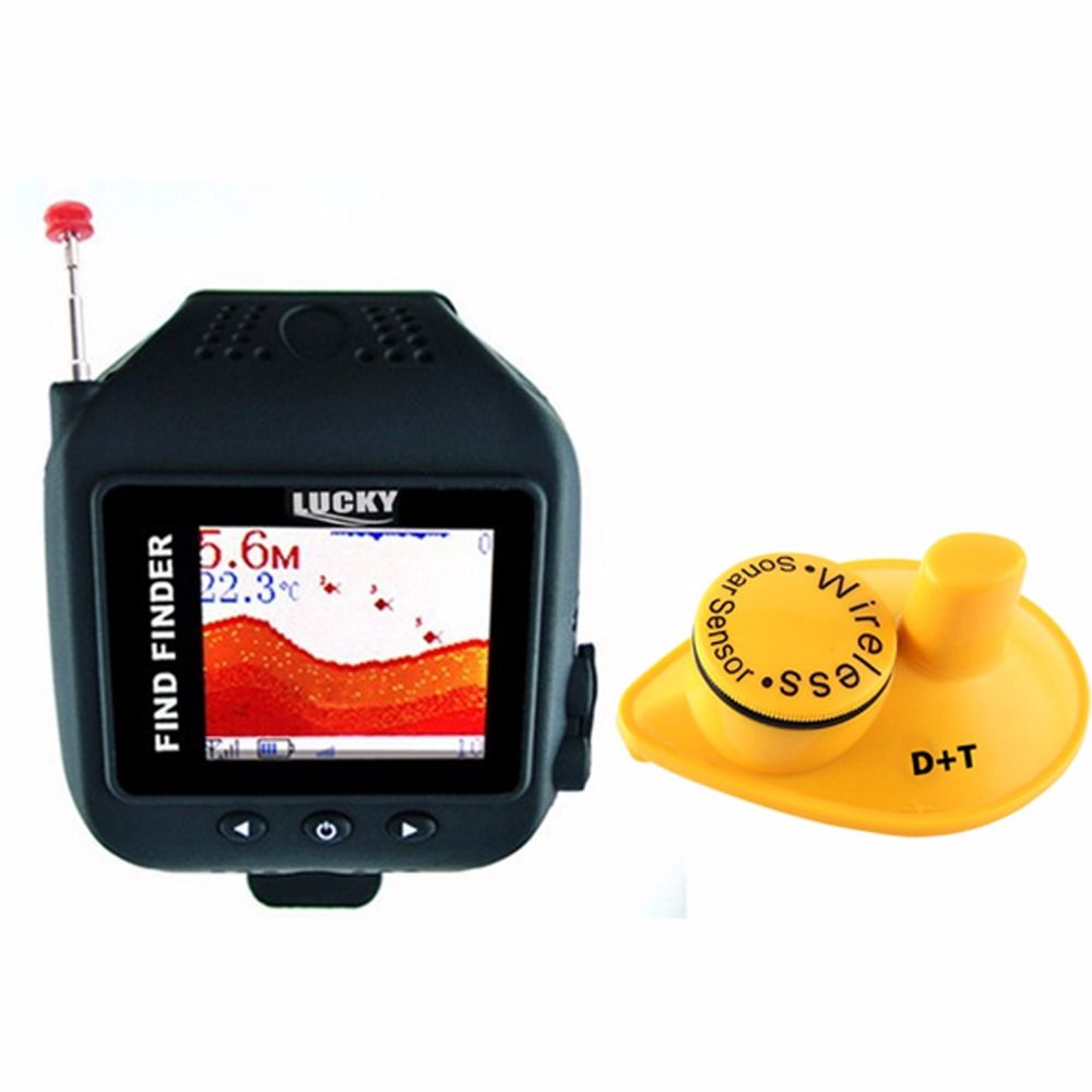 FF-518 LUCKY Watch Design Fish Finder 150ft Wireless Sonar Sensor Clock Mode Rechargeable 60m Fish Detector Watch