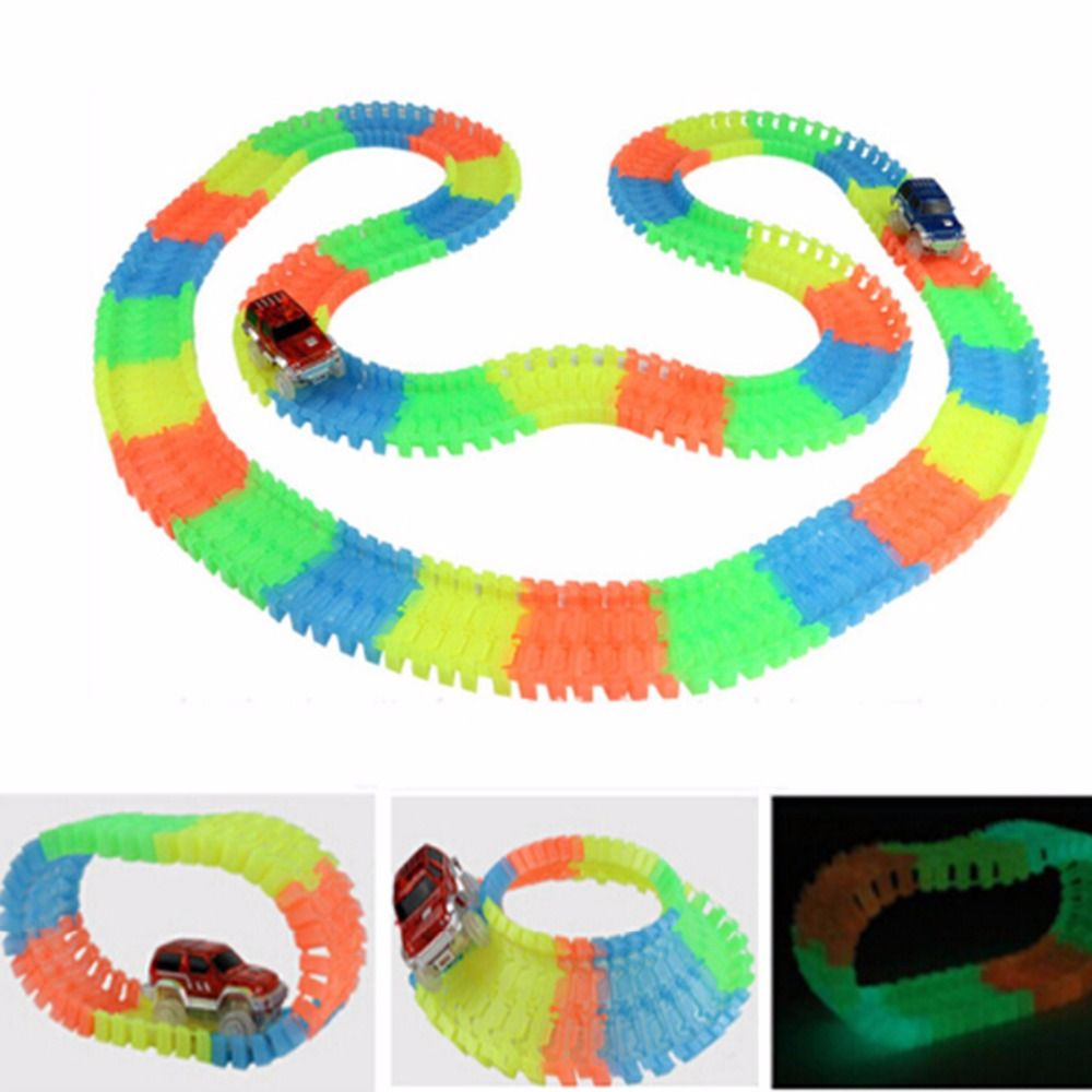 Miraculous Glowing Race Track Bend Flex Flash in the Dark Assembly Cars 3 2 Toy 165/220/240pcs Glow Racing Magical Track Set