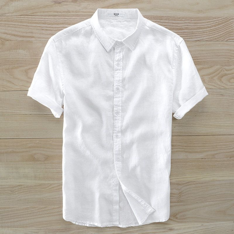 Linen shirt male summer shirts with short sleeves male han edition cultivate one's morality type tide pure color contracted joke