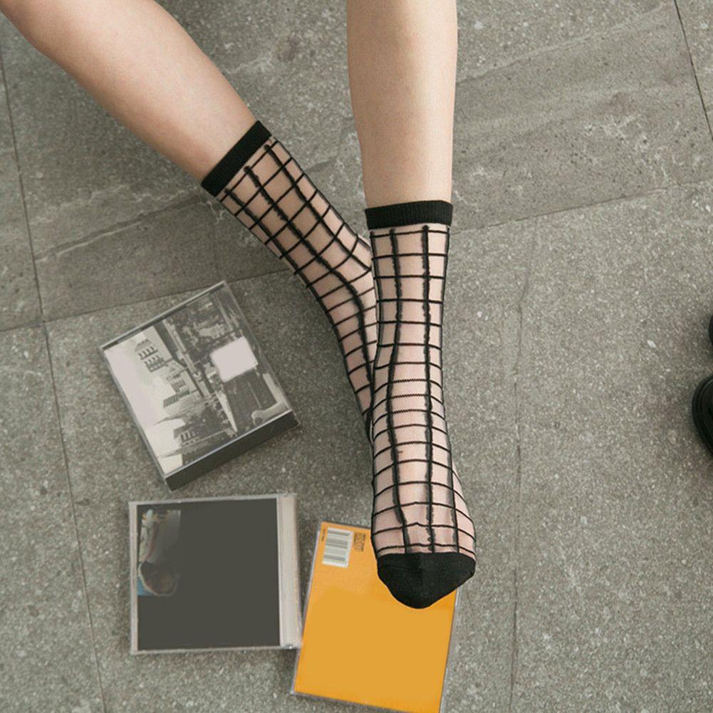 Fashion Sexy Ultra Thin Transparent Striped Women Girl Socks Summer Present
