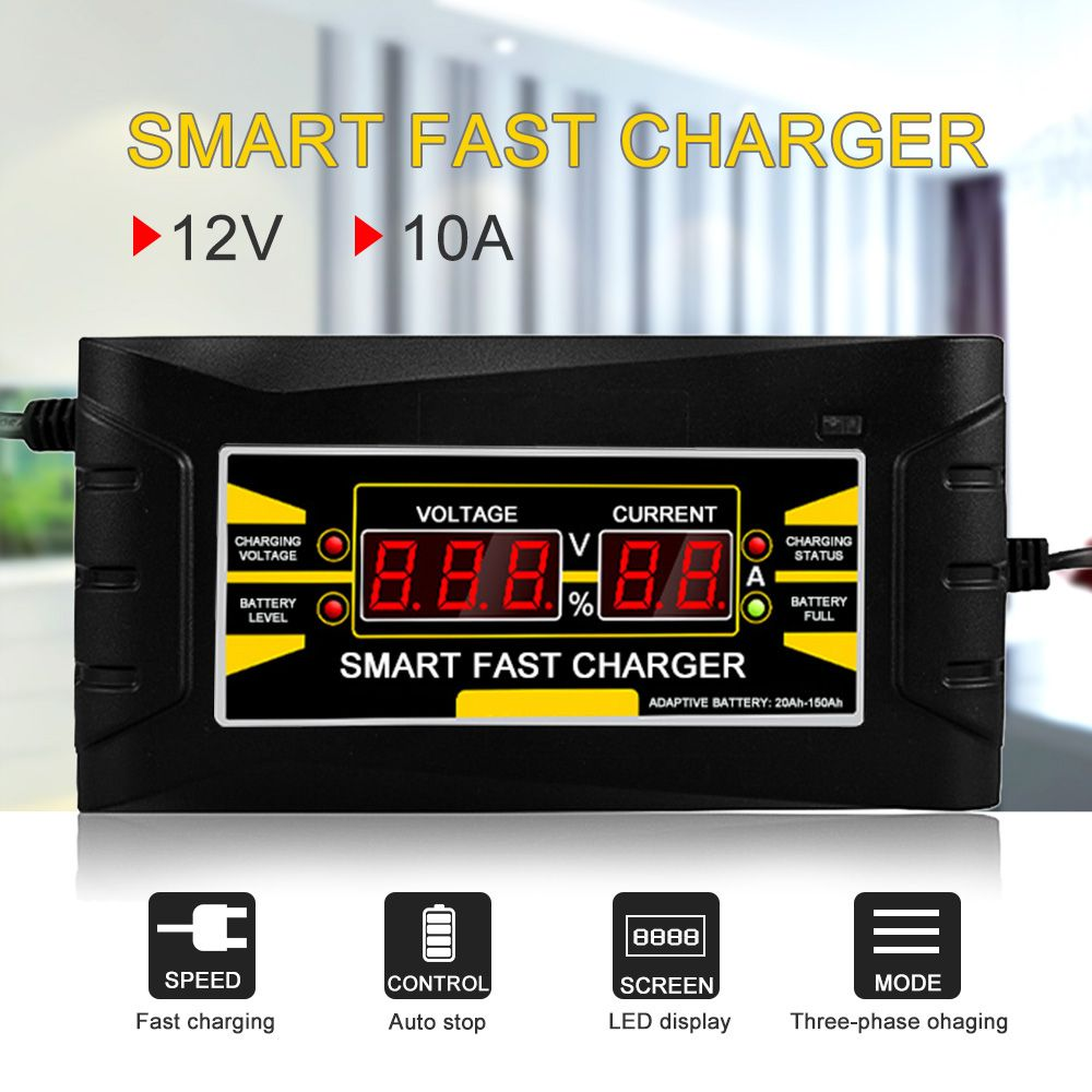 Full Automatic Smart 12V 10A Lead Acid/GEL Battery Charger w/ LCD Display US Plug Smart Fast Battery Charger Auto Accessories