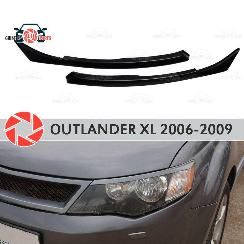 Augenbrauen für Mitsubishi Outlander XL 2006-2009 für scheinwerfer zilien wimpern kunststoff ABS formteile dekoration trim auto styling