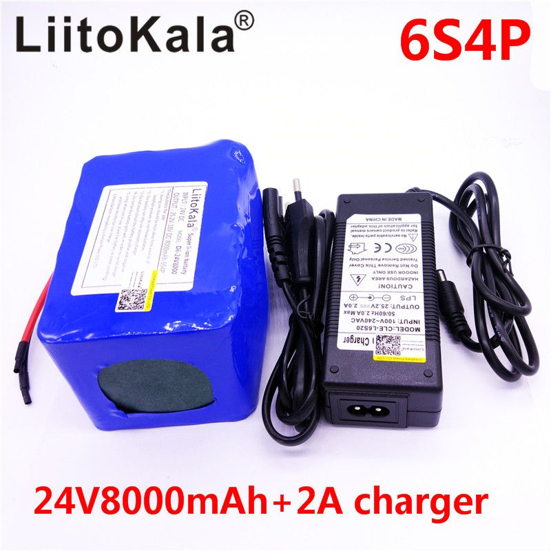 LiitoKala 24v 8Ah lithium esooter battery 24v 10Ah li-ion wheelchair battery pack DC for 250w electric bicycle motor +25.2v 2A
