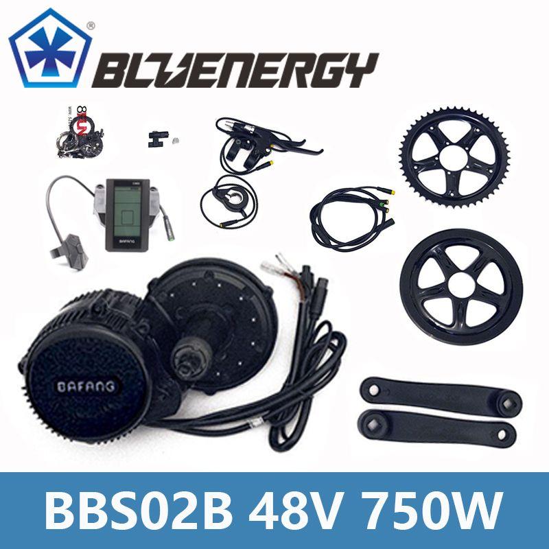 BBS02B 48V 750W 8fun Bafang Mid Drive Motor Kit With Gear Sensor 6V Light Cable Ebike bicycle Conversion Kit Full Color Display