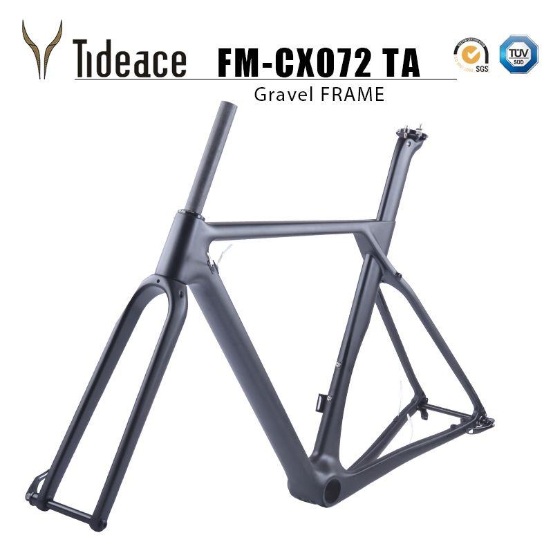 2019 flache montieren Carbon Kies Bike Rahmen 49/52/54/56/59cm Carbon Fahrrad Rahmen kies Bike Cyclocross Rahmen 140mm disc bremse