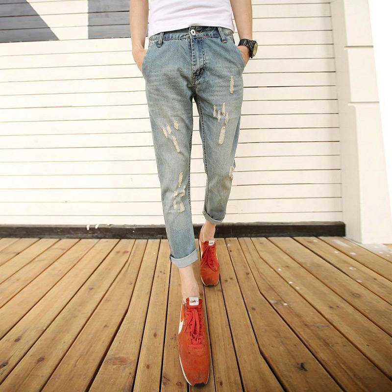 Summer new Korean version slim, jeans, short pants, youth fashionable