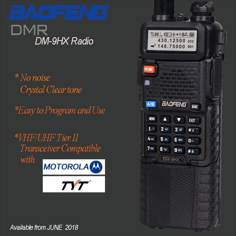 Baofeng DM-9HX DMR Radio Tier II VFO Digital &Analog Dual Band UHF/VHF Two way Radio Walkie Talkie Digital DM-5R Ham Transceiver
